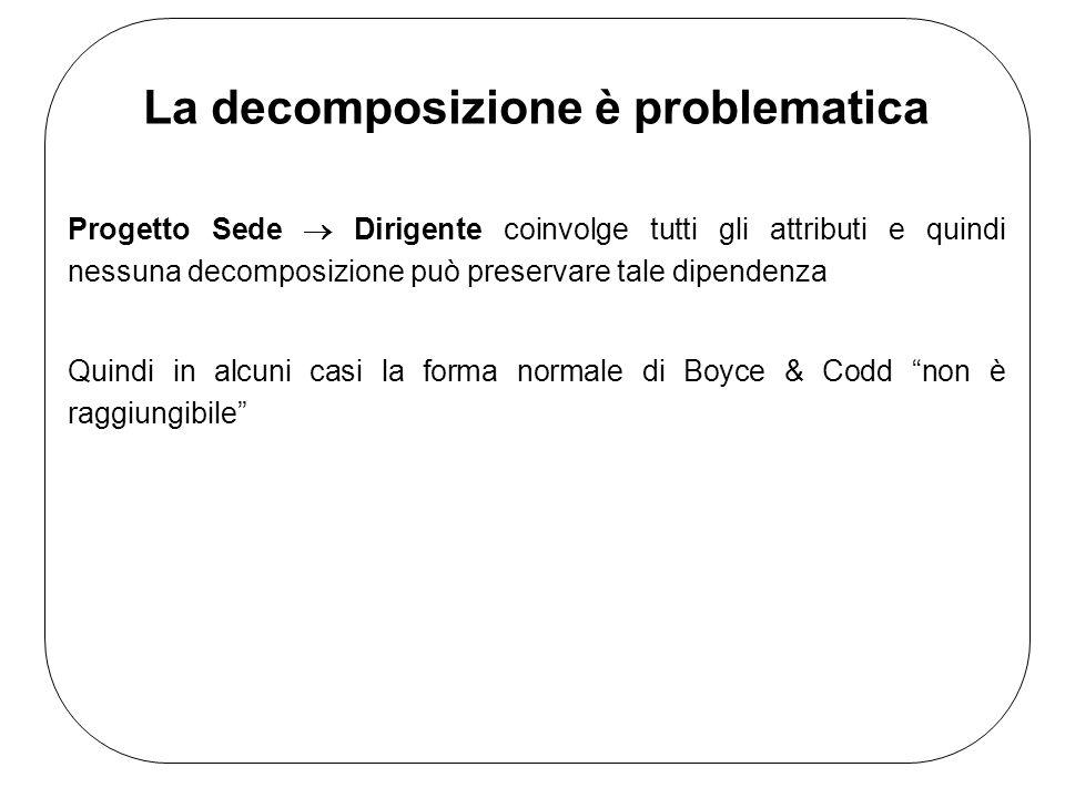 La decomposizione è problematica Progetto Sede Dirigente coinvolge tutti gli attributi e quindi nessuna decomposizione può preservare tale dipendenza Quindi in alcuni casi la forma normale di Boyce & Codd non è raggiungibile