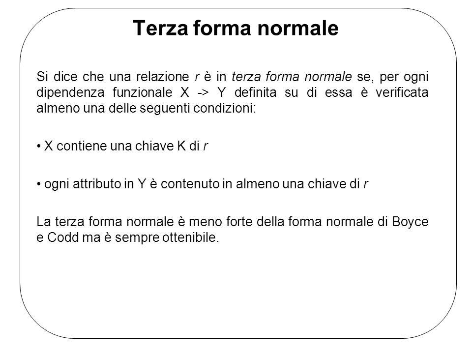 Terza forma normale Si dice che una relazione r è in terza forma normale se, per ogni dipendenza funzionale X -> Y definita su di essa è verificata al