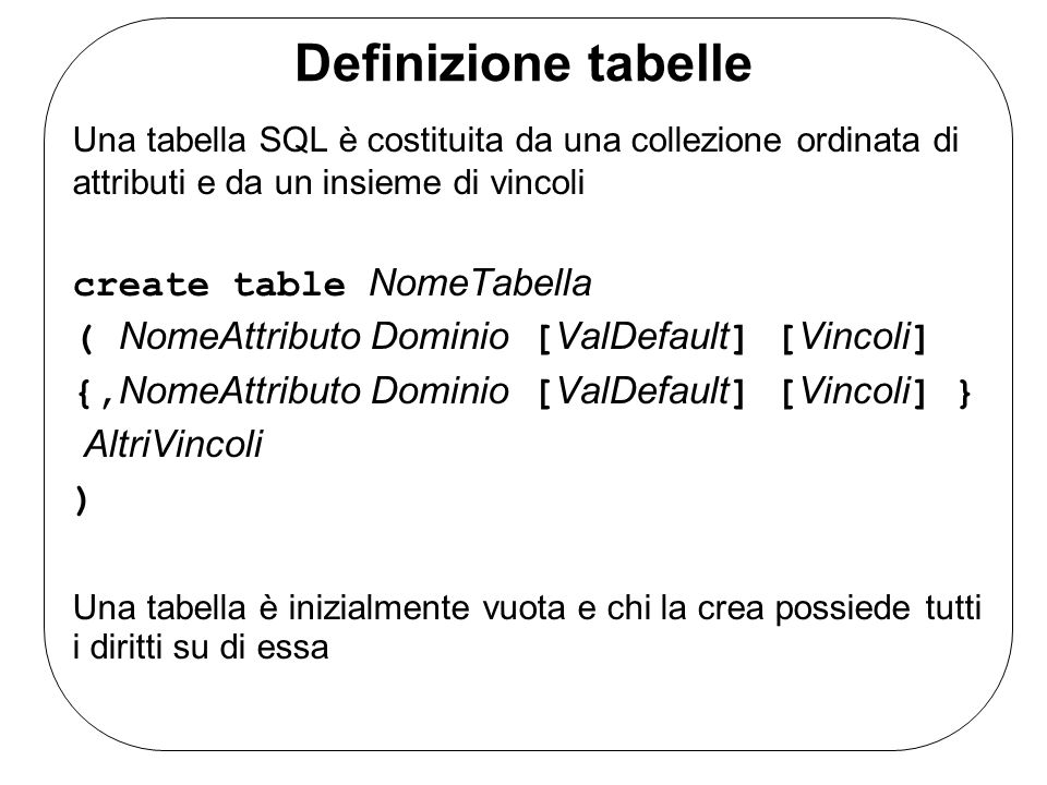 Definizione tabelle Una tabella SQL è costituita da una collezione ordinata di attributi e da un insieme di vincoli create table NomeTabella ( NomeAtt