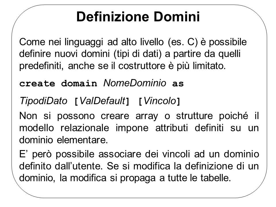 Definizione Domini Come nei linguaggi ad alto livello (es. C) è possibile definire nuovi domini (tipi di dati) a partire da quelli predefiniti, anche
