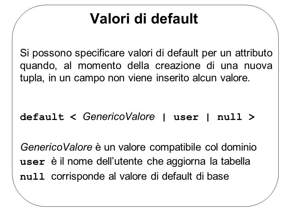 Valori di default Si possono specificare valori di default per un attributo quando, al momento della creazione di una nuova tupla, in un campo non vie
