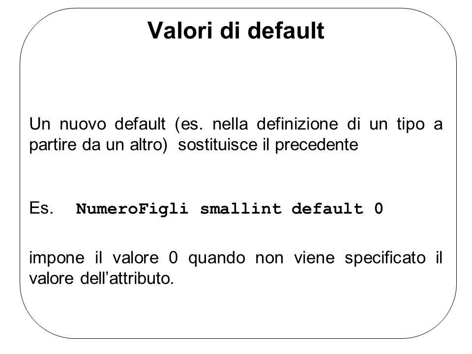 Valori di default Un nuovo default (es. nella definizione di un tipo a partire da un altro) sostituisce il precedente Es. NumeroFigli smallint default