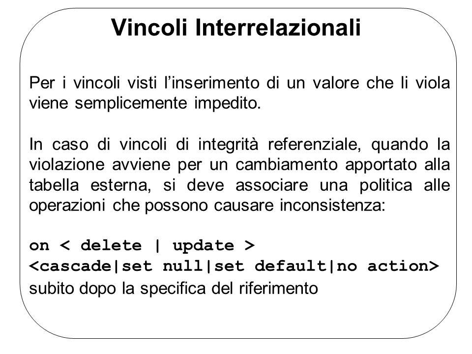 Vincoli Interrelazionali Per i vincoli visti linserimento di un valore che li viola viene semplicemente impedito. In caso di vincoli di integrità refe