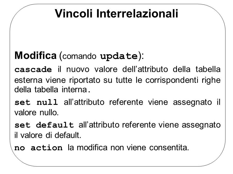Vincoli Interrelazionali Modifica ( comando update ): cascade il nuovo valore dellattributo della tabella esterna viene riportato su tutte le corrispo