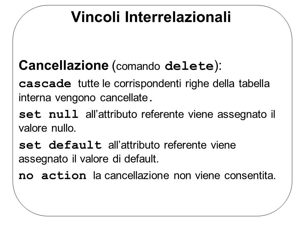 Vincoli Interrelazionali Cancellazione ( comando delete ): cascade tutte le corrispondenti righe della tabella interna vengono cancellate. set null al
