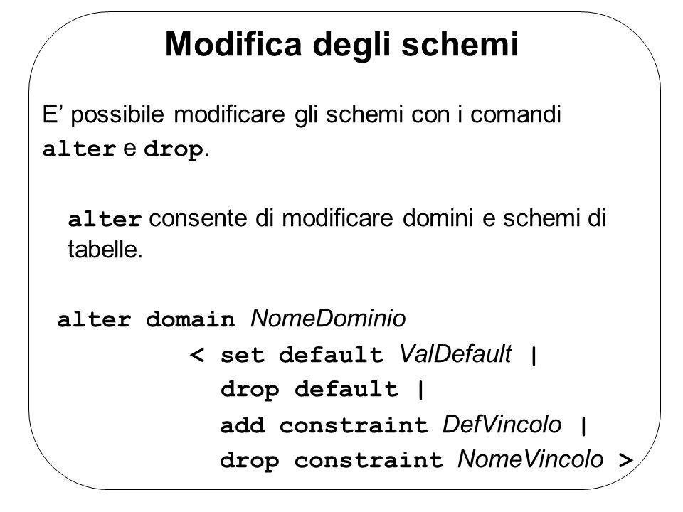 Modifica degli schemi E possibile modificare gli schemi con i comandi alter e drop. alter consente di modificare domini e schemi di tabelle. alter dom