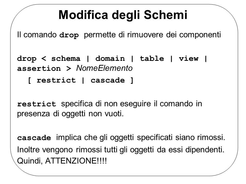 Modifica degli Schemi Il comando drop permette di rimuovere dei componenti drop NomeElemento [ restrict | cascade ] restrict specifica di non eseguire