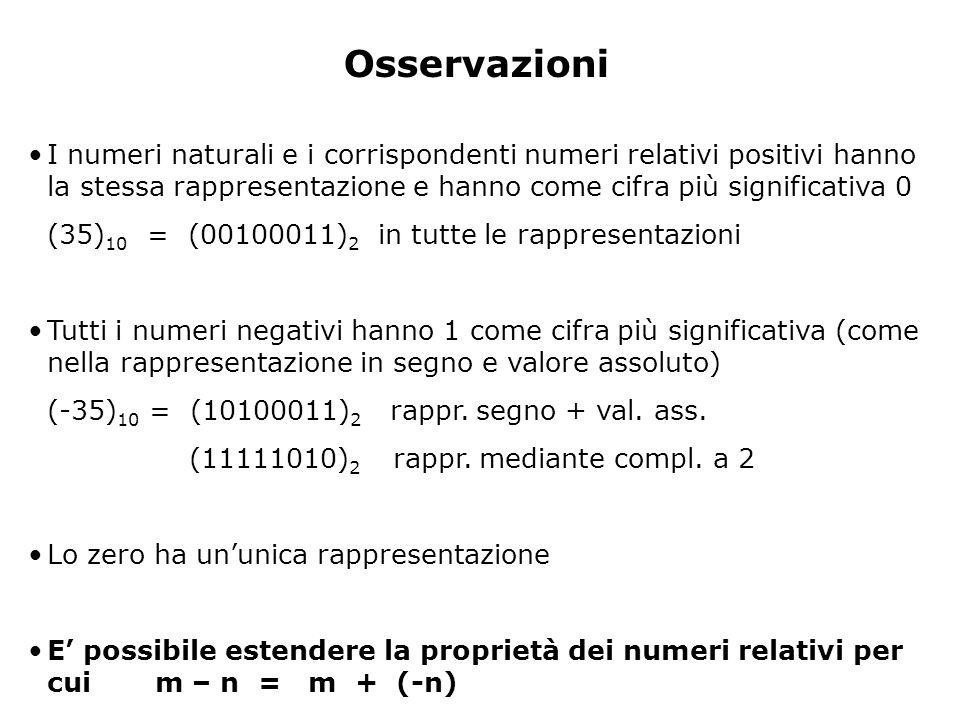 Rappresentazione dello 0 modulo e segno – rappresentazione ambigua – +0 = 00000000 – - 0 = 10000000 complemento a due –rappresentazione univoca infatti il complemento a due di 00000000 è ancora 0 (primo vantaggio!) Quindi: in una rappresentazione a N bit con complemento a 2 posso rappresentare i numeri da -(2 N-1 ) a +2 N-1 - 1 Es.