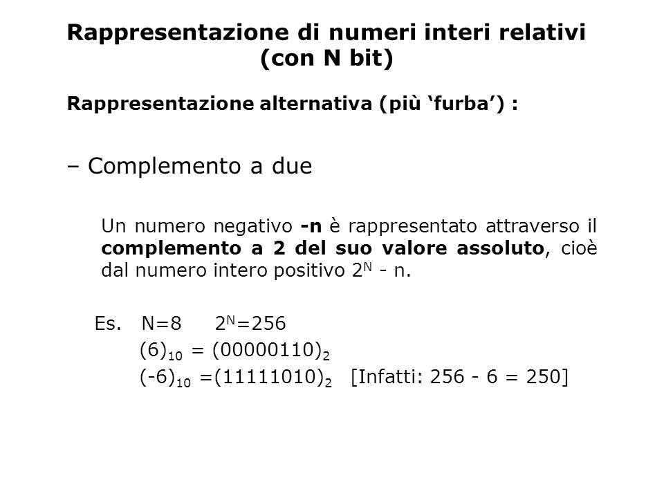 Osservazioni I numeri naturali e i corrispondenti numeri relativi positivi hanno la stessa rappresentazione e hanno come cifra più significativa 0 (35) 10 = (00100011) 2 in tutte le rappresentazioni Tutti i numeri negativi hanno 1 come cifra più significativa (come nella rappresentazione in segno e valore assoluto) (-35) 10 = (10100011) 2 rappr.