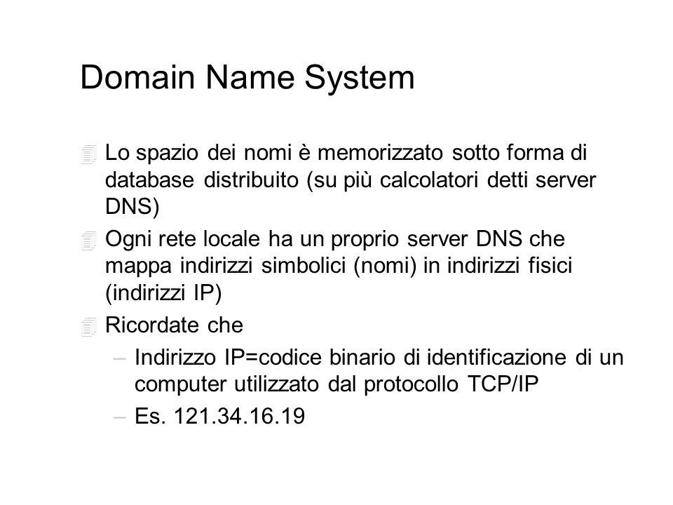 Domain Name System 4 Lo spazio dei nomi è memorizzato sotto forma di database distribuito (su più calcolatori detti server DNS) 4 Ogni rete locale ha un proprio server DNS che mappa indirizzi simbolici (nomi) in indirizzi fisici (indirizzi IP) 4 Ricordate che –Indirizzo IP=codice binario di identificazione di un computer utilizzato dal protocollo TCP/IP –Es.