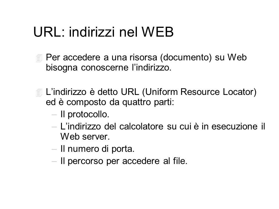 URL: indirizzi nel WEB 4 Per accedere a una risorsa (documento) su Web bisogna conoscerne lindirizzo.