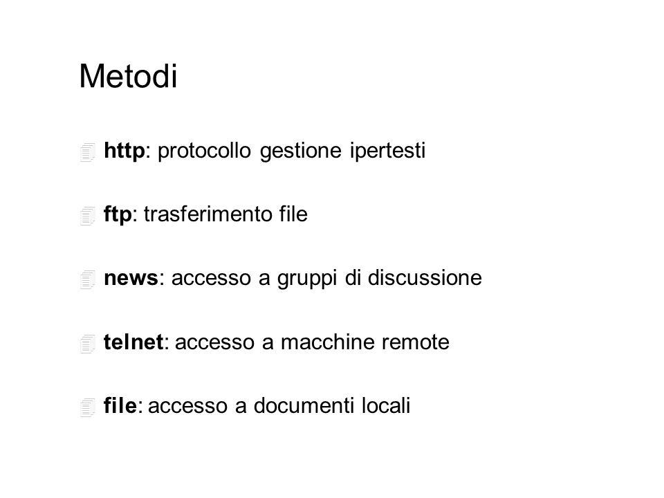 Metodi 4 http: protocollo gestione ipertesti 4 ftp: trasferimento file 4 news: accesso a gruppi di discussione 4 telnet: accesso a macchine remote 4 file: accesso a documenti locali