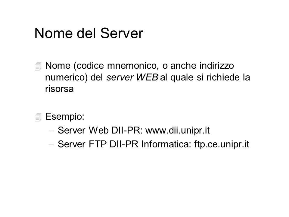 Nome del Server 4 Nome (codice mnemonico, o anche indirizzo numerico) del server WEB al quale si richiede la risorsa 4 Esempio: –Server Web DII-PR: www.dii.unipr.it –Server FTP DII-PR Informatica: ftp.ce.unipr.it