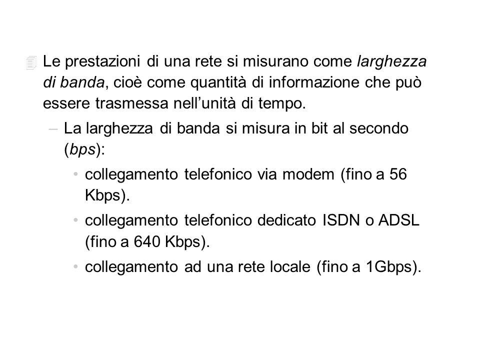 4 Le prestazioni di una rete si misurano come larghezza di banda, cioè come quantità di informazione che può essere trasmessa nellunità di tempo.