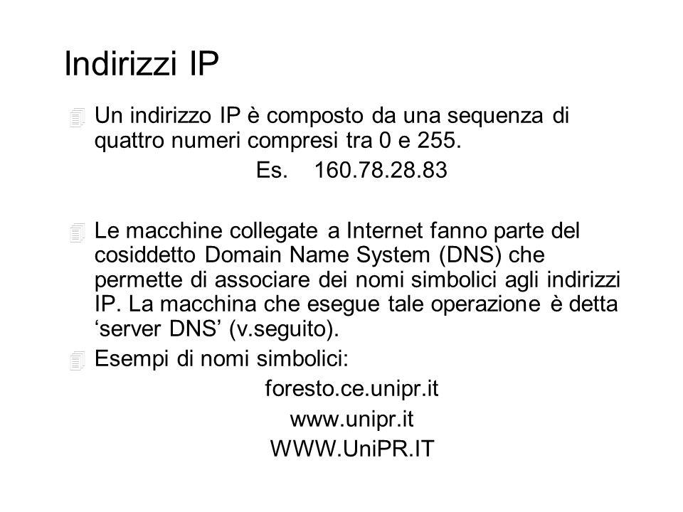 Indirizzi IP 4 Un indirizzo IP è composto da una sequenza di quattro numeri compresi tra 0 e 255.