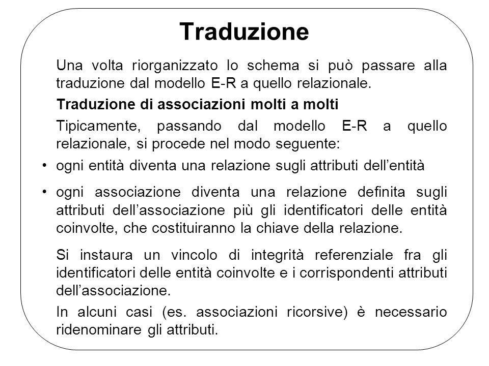 Traduzione Una volta riorganizzato lo schema si può passare alla traduzione dal modello E-R a quello relazionale. Traduzione di associazioni molti a m