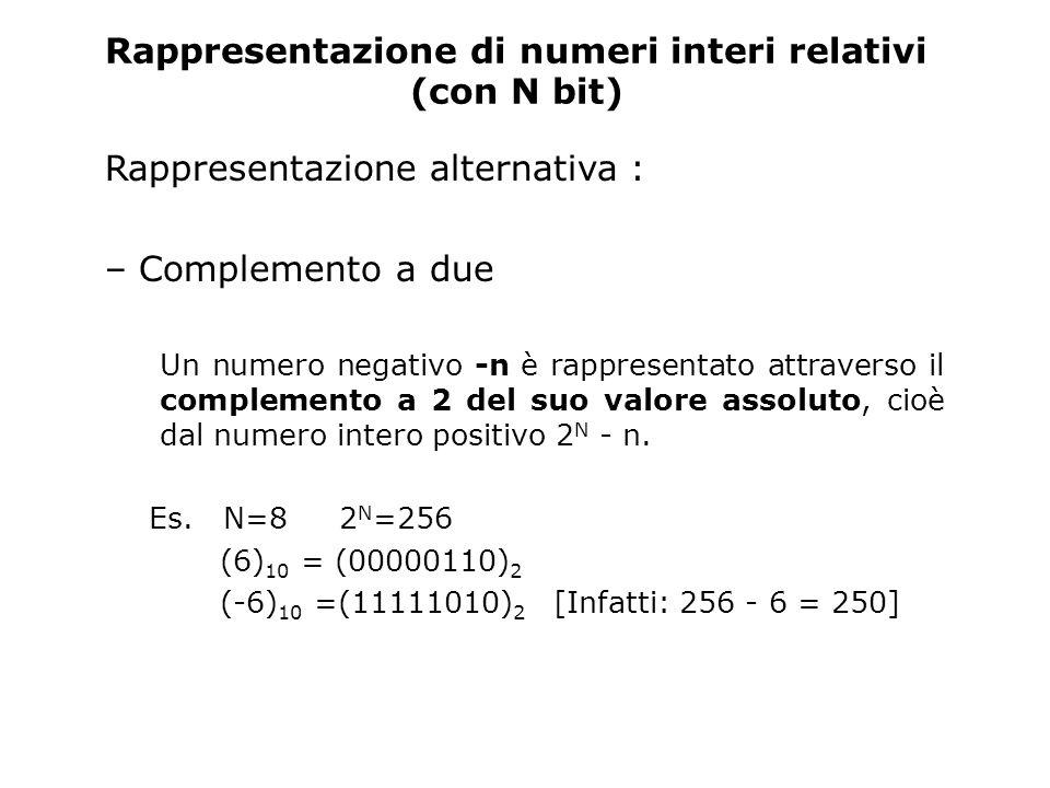 Rappresentazione di numeri interi relativi (con N bit) Rappresentazione alternativa : – Complemento a due Un numero negativo -n è rappresentato attrav