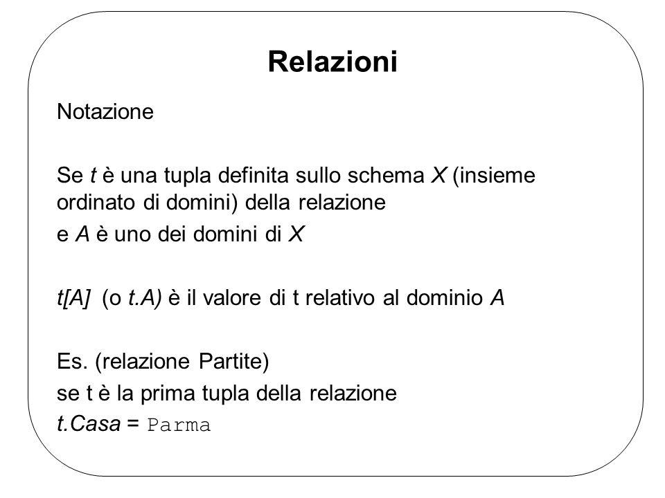 Relazioni Notazione Se t è una tupla definita sullo schema X (insieme ordinato di domini) della relazione e A è uno dei domini di X t[A] (o t.A) è il