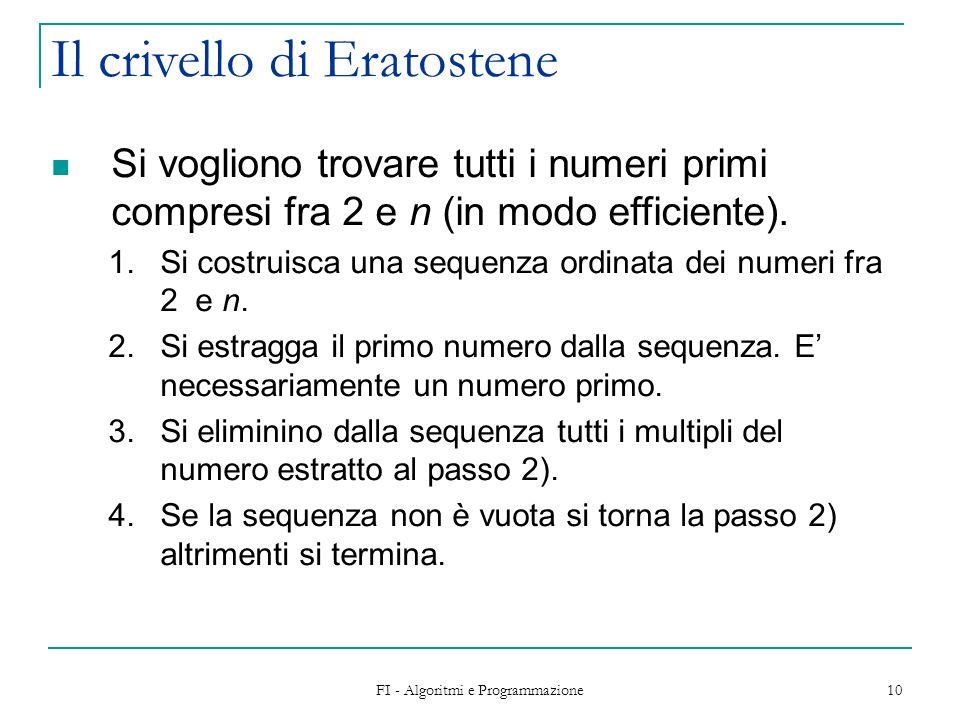 FI - Algoritmi e Programmazione 10 Il crivello di Eratostene Si vogliono trovare tutti i numeri primi compresi fra 2 e n (in modo efficiente). 1.Si co
