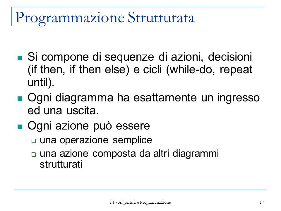 FI - Algoritmi e Programmazione 17 Programmazione Strutturata Si compone di sequenze di azioni, decisioni (if then, if then else) e cicli (while-do, r