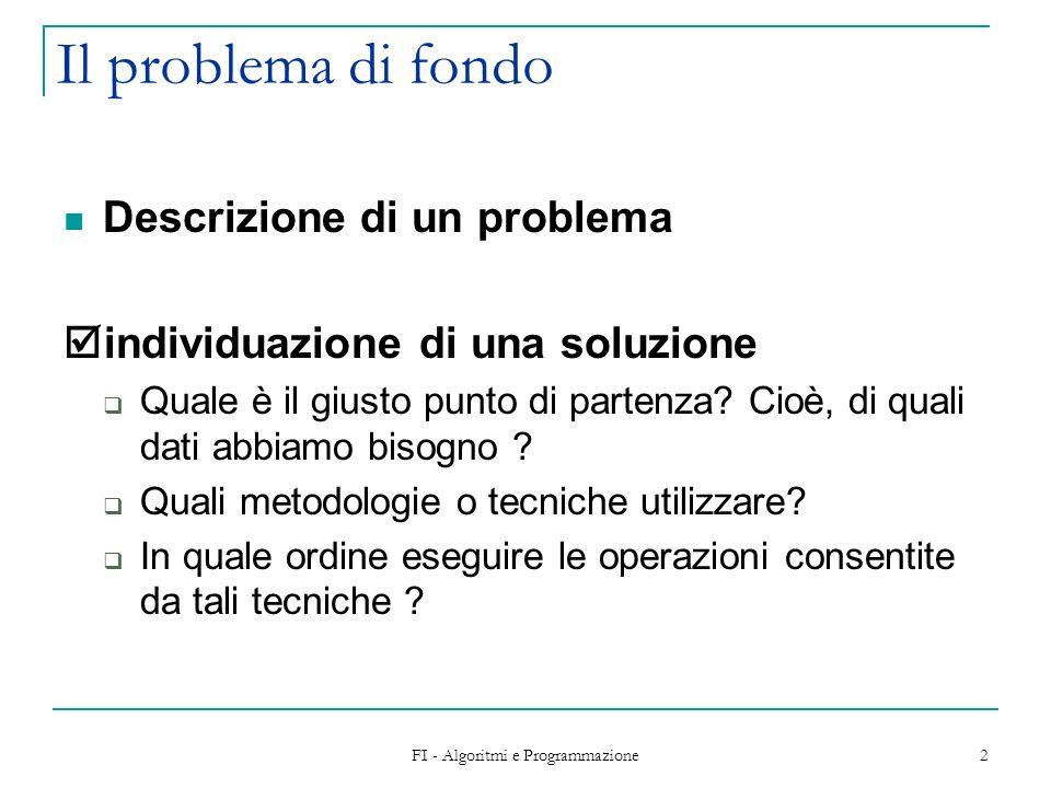 FI - Algoritmi e Programmazione 2 Il problema di fondo Descrizione di un problema individuazione di una soluzione Quale è il giusto punto di partenza?