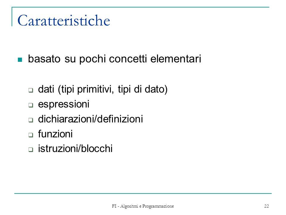 FI - Algoritmi e Programmazione 22 Caratteristiche basato su pochi concetti elementari dati (tipi primitivi, tipi di dato) espressioni dichiarazioni/d