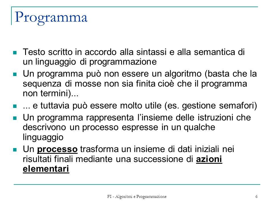 FI - Algoritmi e Programmazione 7 Esecuzione Lesecuzione delle azioni nellordine specificato dallalgoritmo consente di ottenere i risultati che risolvono il problema a partire dai dati in ingresso Problema: algoritmo programma Metodo risolutivo Codifica in un linguaggio di programmazione