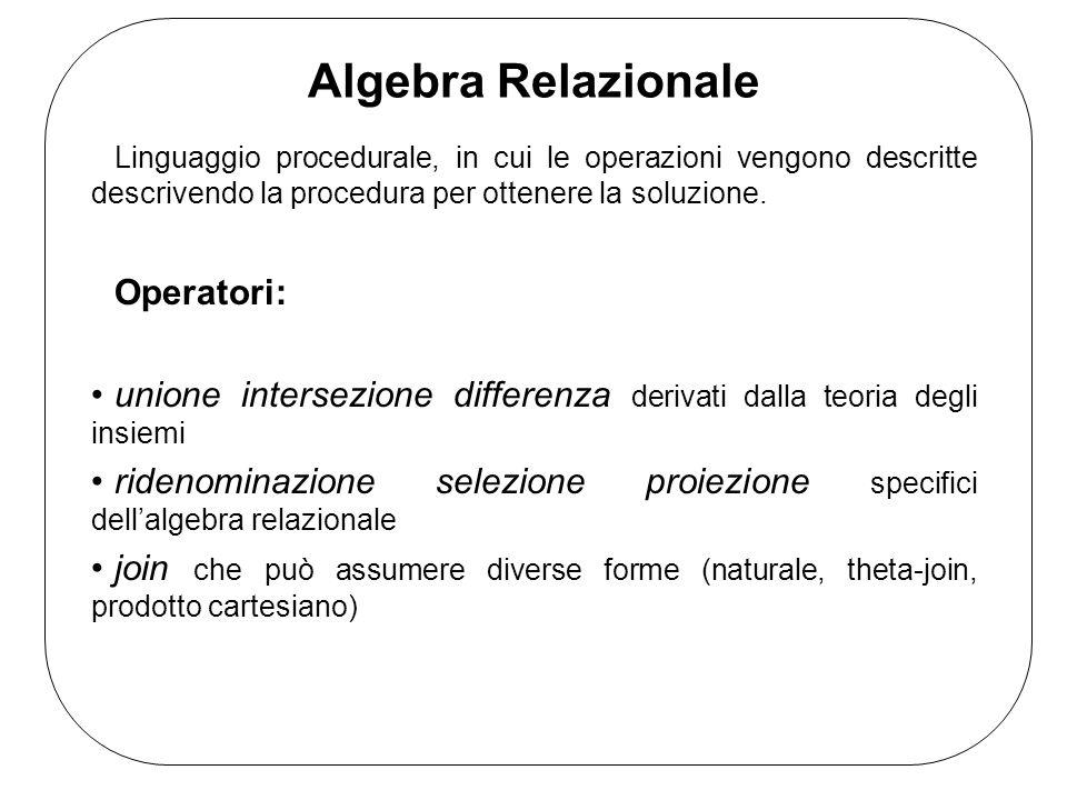 Algebra Relazionale Linguaggio procedurale, in cui le operazioni vengono descritte descrivendo la procedura per ottenere la soluzione.