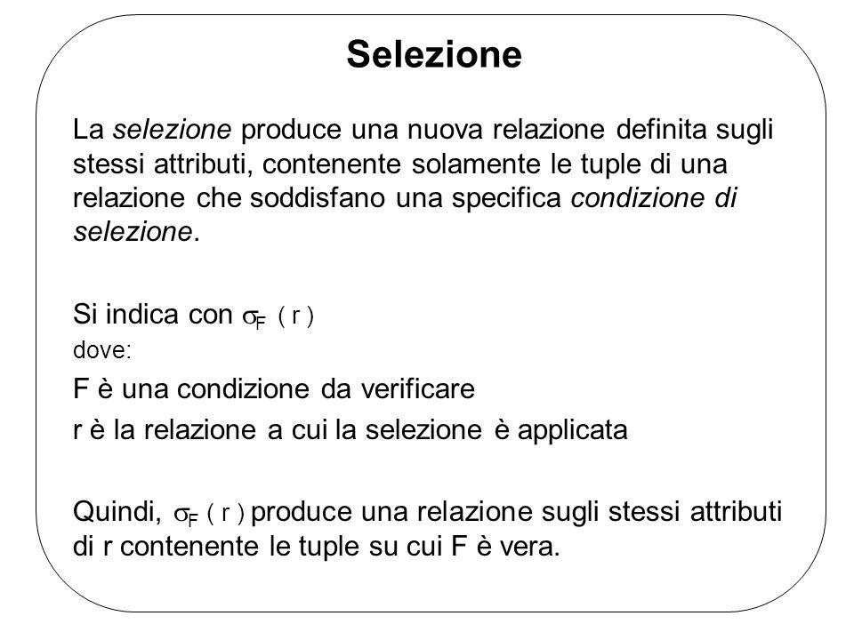 Selezione La selezione produce una nuova relazione definita sugli stessi attributi, contenente solamente le tuple di una relazione che soddisfano una specifica condizione di selezione.