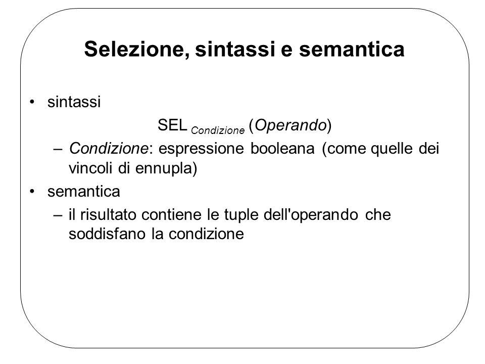 Selezione, sintassi e semantica sintassi SEL Condizione (Operando) –Condizione: espressione booleana (come quelle dei vincoli di ennupla) semantica –il risultato contiene le tuple dell operando che soddisfano la condizione