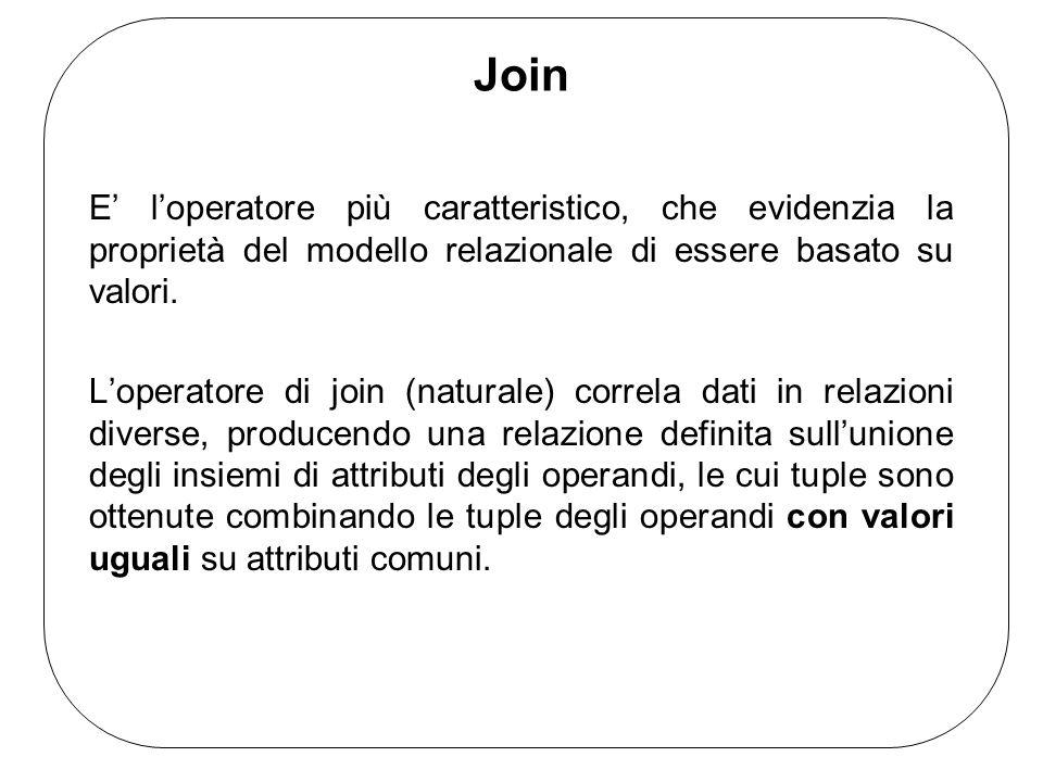 Join E loperatore più caratteristico, che evidenzia la proprietà del modello relazionale di essere basato su valori.