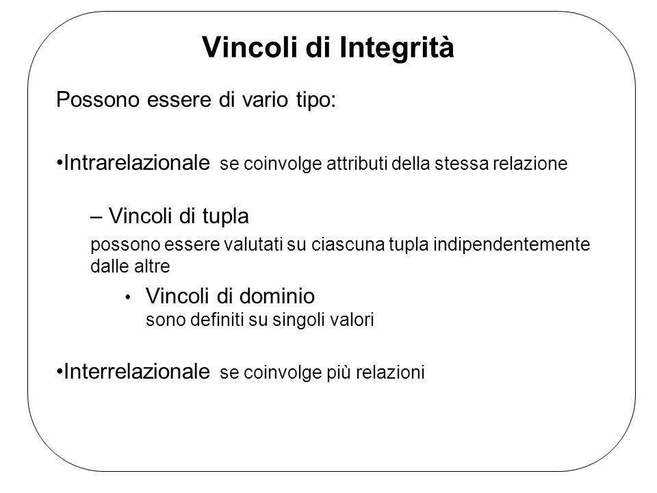 Vincoli di Integrità Possono essere di vario tipo: Intrarelazionale se coinvolge attributi della stessa relazione – Vincoli di tupla possono essere valutati su ciascuna tupla indipendentemente dalle altre Vincoli di dominio sono definiti su singoli valori Interrelazionale se coinvolge più relazioni