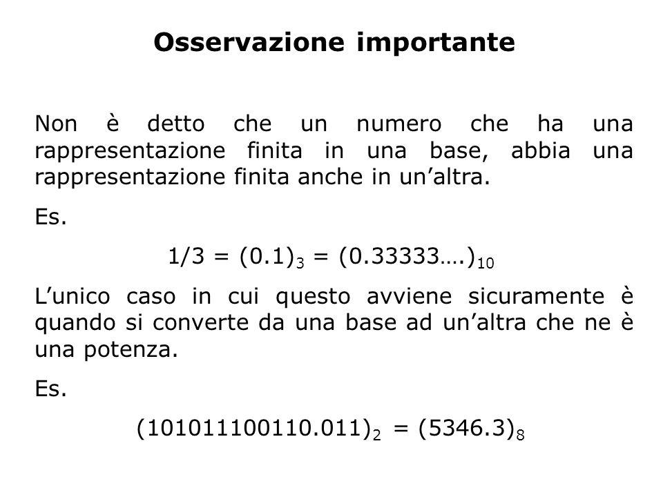 Osservazione importante Non è detto che un numero che ha una rappresentazione finita in una base, abbia una rappresentazione finita anche in unaltra.