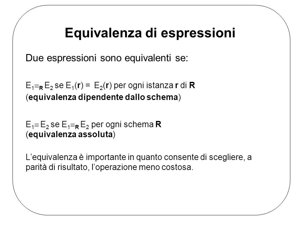 Equivalenza di espressioni Due espressioni sono equivalenti se: E 1 R E 2 se E 1 (r) = E 2 (r) per ogni istanza r di R (equivalenza dipendente dallo schema) Lequivalenza è importante in quanto consente di scegliere, a parità di risultato, loperazione meno costosa.