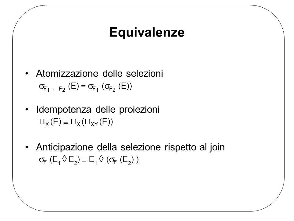 Equivalenze Atomizzazione delle selezioni F 1 F 2 (E) F 1 ( F 2 (E)) Idempotenza delle proiezioni X (E) X ( XY (E)) Anticipazione della selezione risp