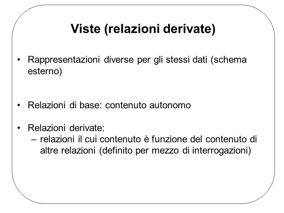 Viste (relazioni derivate) Rappresentazioni diverse per gli stessi dati (schema esterno) Relazioni di base: contenuto autonomo Relazioni derivate: –relazioni il cui contenuto è funzione del contenuto di altre relazioni (definito per mezzo di interrogazioni)