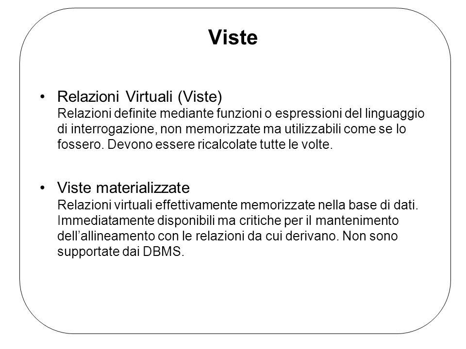 Viste Relazioni Virtuali (Viste) Relazioni definite mediante funzioni o espressioni del linguaggio di interrogazione, non memorizzate ma utilizzabili come se lo fossero.
