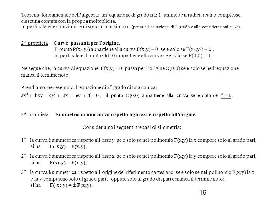 16 Teorema fondamentale dellalgebra: unequazione di grado n 1 ammette n radici, reali o complesse, ciascuna contata con la propria molteplicità. In pa
