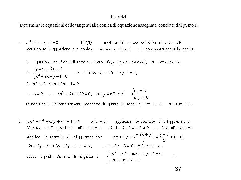 37 Esercizi Determina le equazioni delle tangenti alla conica di equazione assegnata, condotte dal punto P: