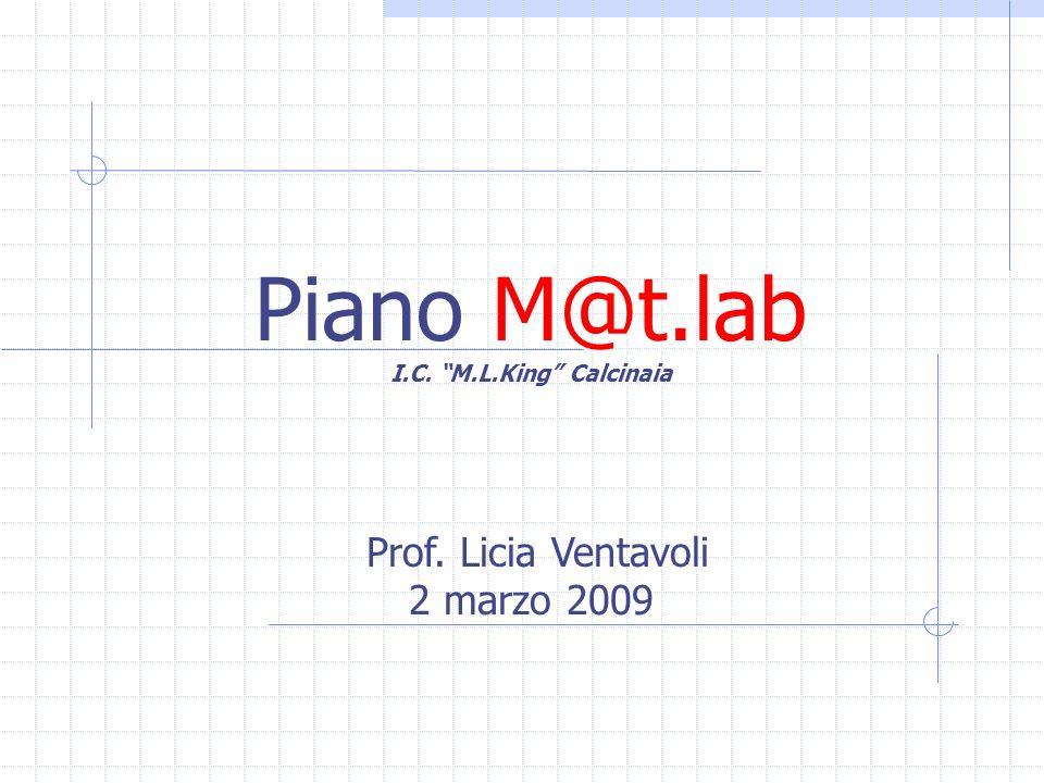 Piano M@t.lab I.C. M.L.King Calcinaia Prof. Licia Ventavoli 2 marzo 2009