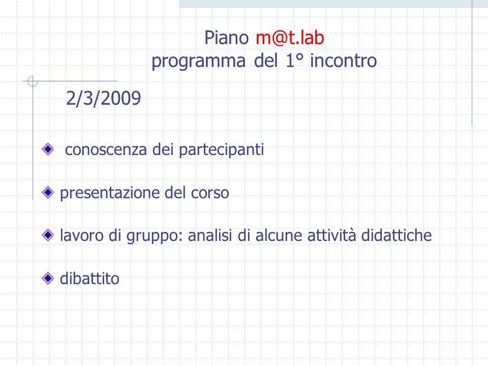 Piano m@t.lab programma del 1° incontro 2/3/2009 conoscenza dei partecipanti presentazione del corso lavoro di gruppo: analisi di alcune attività didattiche dibattito