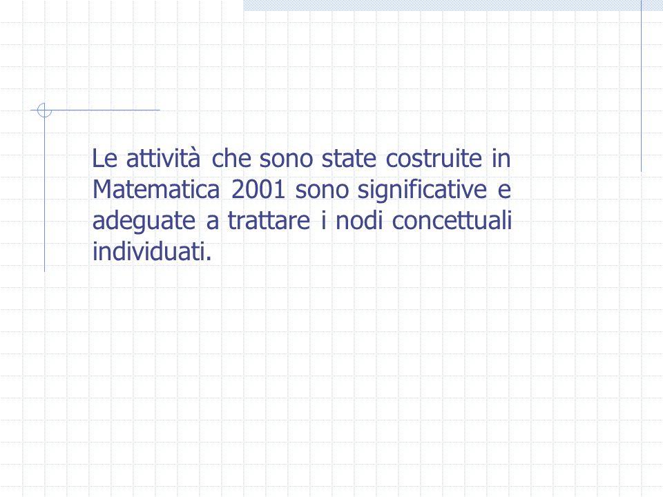 Le attività che sono state costruite in Matematica 2001 sono significative e adeguate a trattare i nodi concettuali individuati.