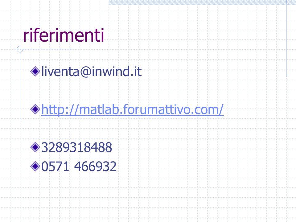 riferimenti liventa@inwind.it http://matlab.forumattivo.com/ 3289318488 0571 466932