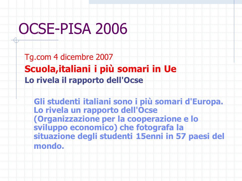 OCSE-PISA 2006 Tg.com 4 dicembre 2007 Scuola,italiani i più somari in Ue Lo rivela il rapporto dell Ocse Gli studenti italiani sono i più somari d Europa.