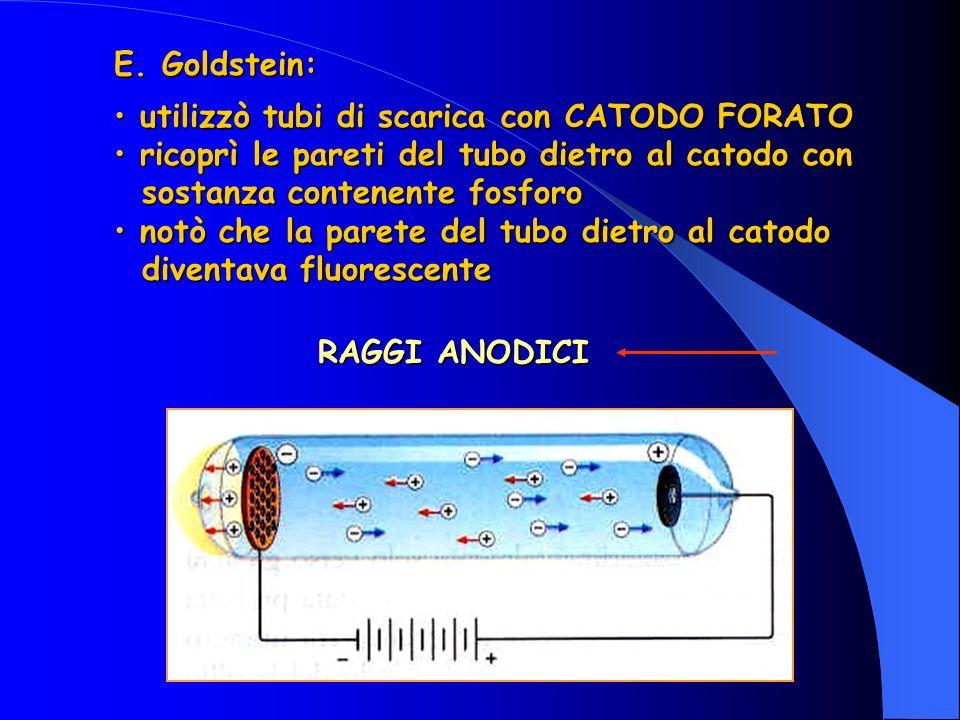 E. Goldstein: utilizzò tubi di scarica con CATODO FORATO utilizzò tubi di scarica con CATODO FORATO ricoprì le pareti del tubo dietro al catodo con ri