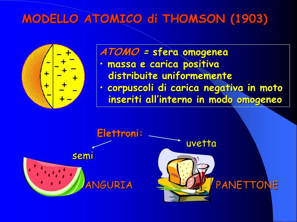 MODELLO ATOMICO di THOMSON (1903) ATOMO = sfera omogenea massa e carica positiva massa e carica positiva distribuite uniformemente distribuite uniformemente corpuscoli di carica negativa in moto corpuscoli di carica negativa in moto inseriti allinterno in modo omogeneo inseriti allinterno in modo omogeneo ANGURIAPANETTONE Elettroni: semi uvetta
