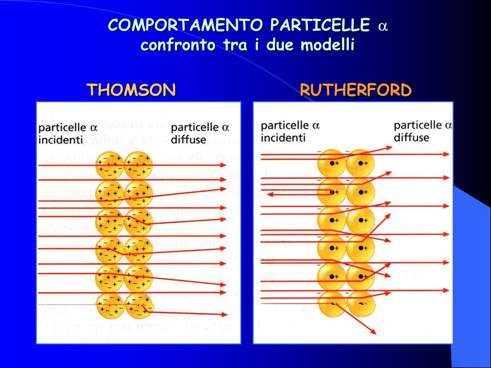 THOMSONRUTHERFORD COMPORTAMENTO PARTICELLE COMPORTAMENTO PARTICELLE confronto tra i due modelli