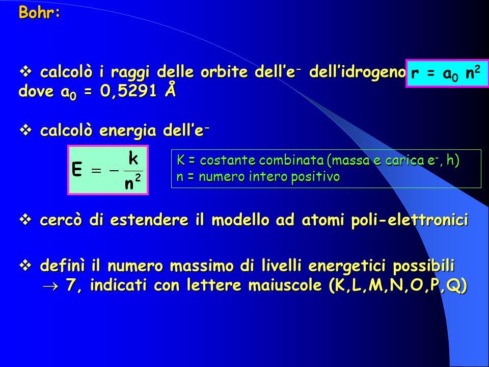 Bohr: calcolò i raggi delle orbite delle - dellidrogeno dove a 0 = 0,5291 Å calcolò i raggi delle orbite delle - dellidrogeno dove a 0 = 0,5291 Å calcolò energia delle - calcolò energia delle - K = costante combinata (massa e carica e -, h) n = numero intero positivo cercò di estendere il modello ad atomi poli-elettronici cercò di estendere il modello ad atomi poli-elettronici definì il numero massimo di livelli energetici possibili definì il numero massimo di livelli energetici possibili 7, indicati con lettere maiuscole (K,L,M,N,O,P,Q) 7, indicati con lettere maiuscole (K,L,M,N,O,P,Q) r = a 0 n 2