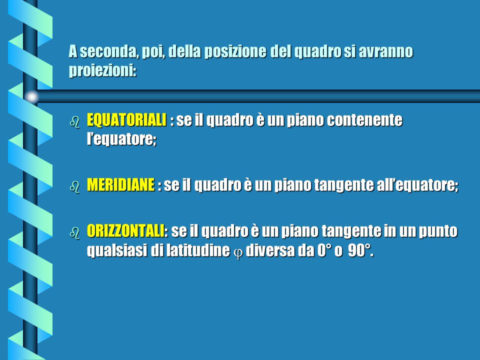 A seconda, poi, della posizione del quadro si avranno proiezioni: b EQUATORIALI : se il quadro è un piano contenente lequatore; b MERIDIANE : se il quadro è un piano tangente allequatore; b ORIZZONTALI: se il quadro è un piano tangente in un punto qualsiasi di latitudine diversa da 0° o 90°.