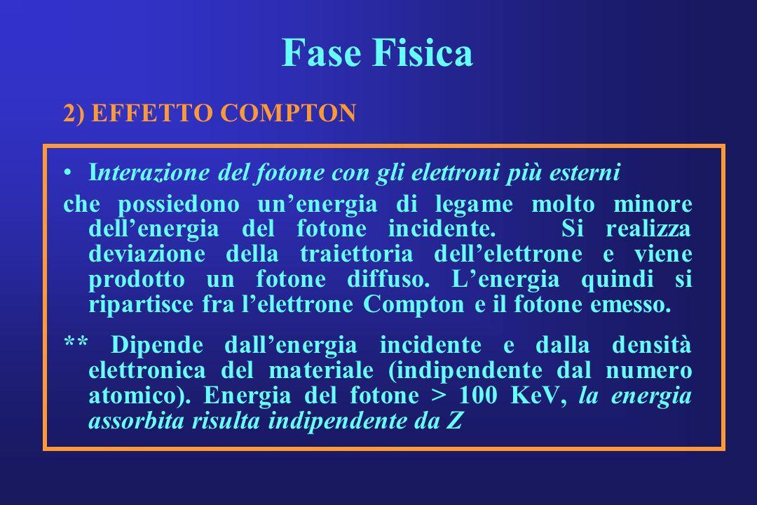 Fase Fisica 2) EFFETTO COMPTON Interazione del fotone con gli elettroni più esterni che possiedono unenergia di legame molto minore dellenergia del fo